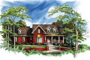 Southern Exterior - Front Elevation Plan #71-117