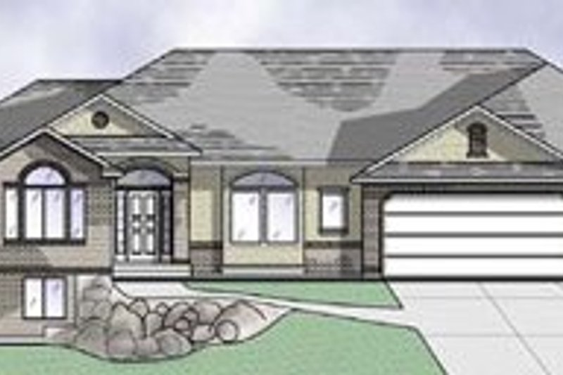 Traditional Style House Plan - 2 Beds 2.5 Baths 2077 Sq/Ft Plan #5-124 Exterior - Front Elevation
