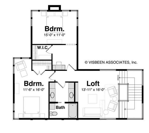 Contemporary Floor Plan - Upper Floor Plan Plan #928-261