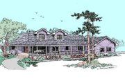 Country Style House Plan - 3 Beds 2 Baths 2228 Sq/Ft Plan #60-408 Exterior - Front Elevation