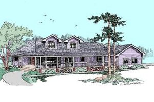 Country Exterior - Front Elevation Plan #60-408