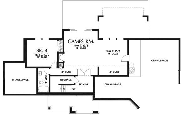 Ranch Floor Plan - Lower Floor Plan Plan #48-950