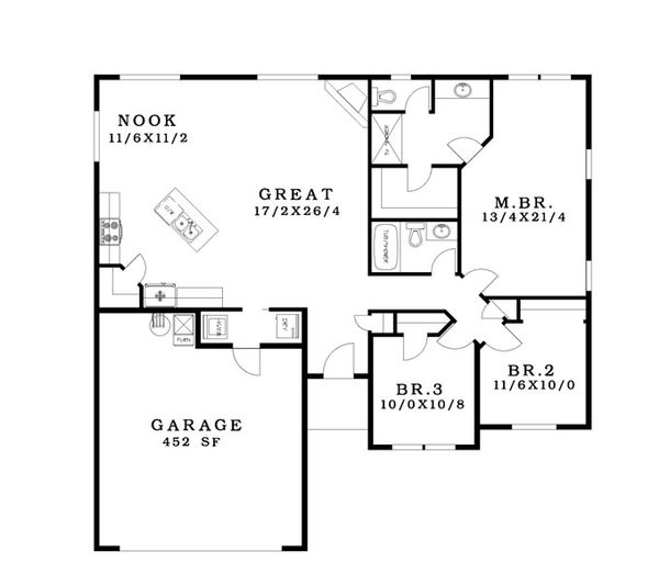 Ranch Floor Plan - Main Floor Plan Plan #943-40