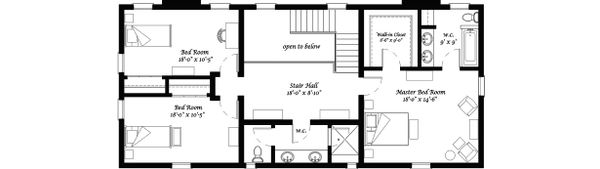 Upper Level Floor Plan - 4050 square foot Classical Revival home