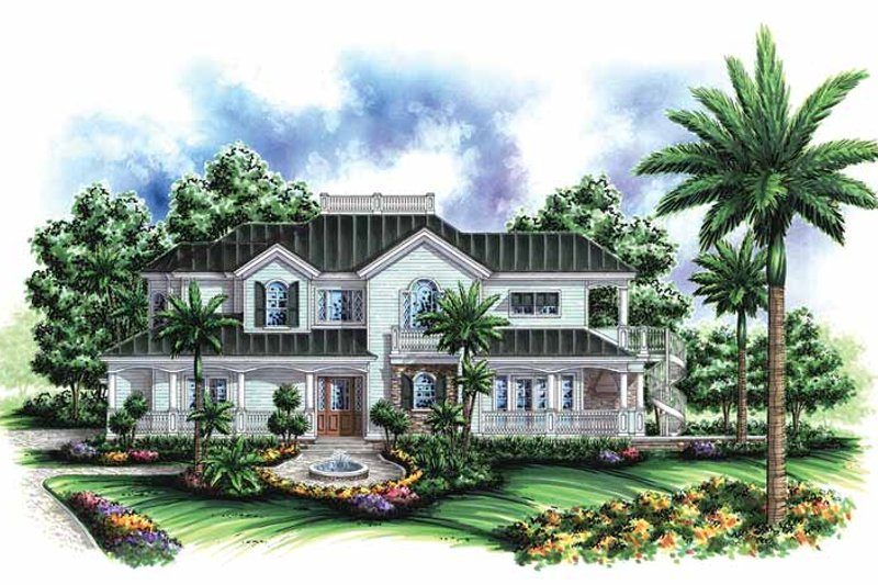 Southern Exterior - Front Elevation Plan #1017-53