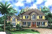 Southern Style House Plan - 4 Beds 5 Baths 4696 Sq/Ft Plan #27-207 Exterior - Front Elevation