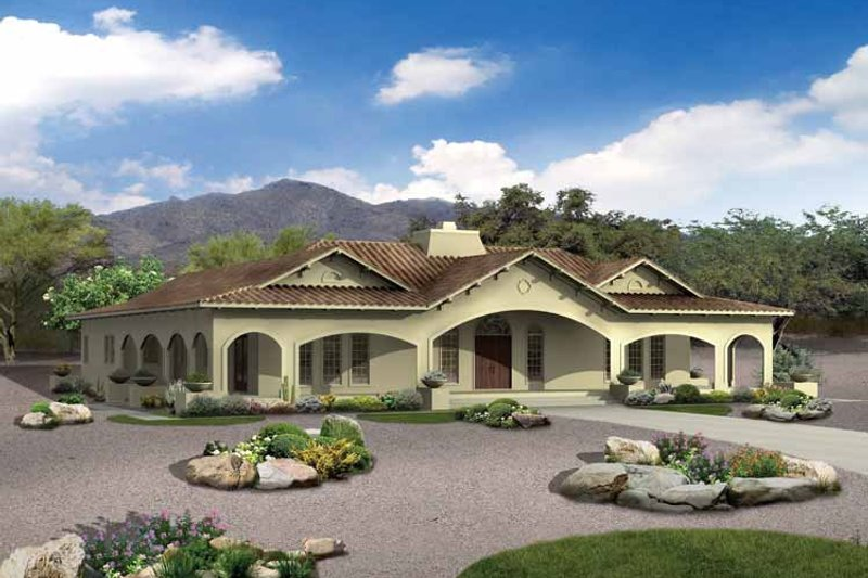 Mediterranean Style House Plan - 4 Beds 3.5 Baths 3163 Sq/Ft Plan #72-177 Exterior - Front Elevation