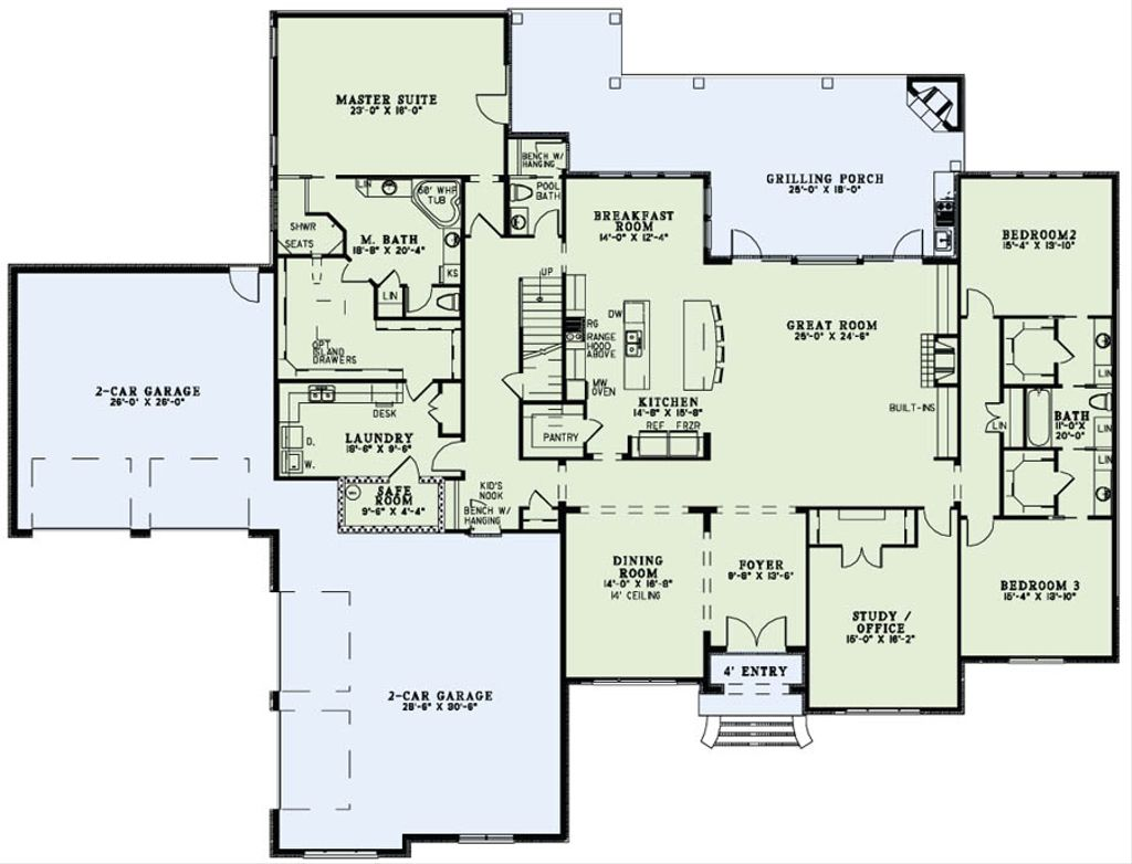 European style house plan 3 beds 3 5 baths 4076 sq ft for European floor plans