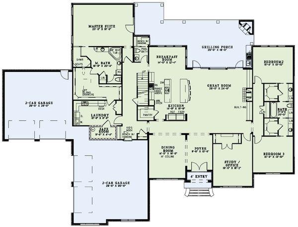 Dream House Plan - European Floor Plan - Main Floor Plan #17-2491
