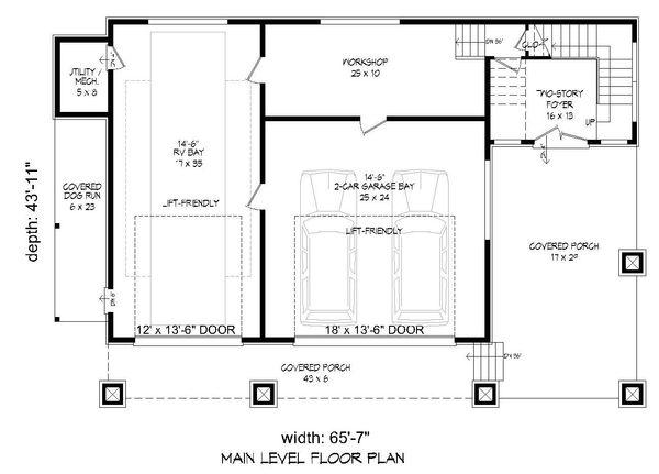 Contemporary Floor Plan - Main Floor Plan Plan #932-217