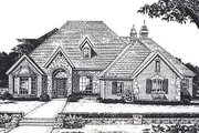 European Style House Plan - 4 Beds 3.5 Baths 2870 Sq/Ft Plan #310-878 Exterior - Front Elevation