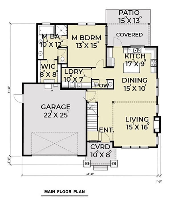 Craftsman Floor Plan - Main Floor Plan Plan #1070-60
