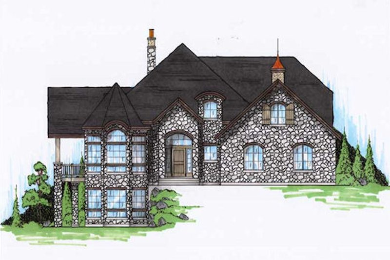 European Exterior - Front Elevation Plan #5-406