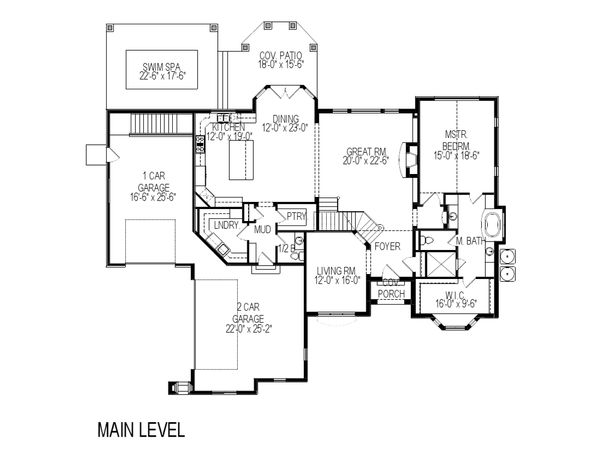 European Floor Plan - Main Floor Plan Plan #920-12
