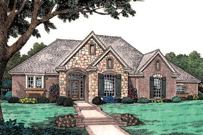 European Style House Plan - 3 Beds 2.5 Baths 1807 Sq/Ft Plan #310-903 Exterior - Front Elevation