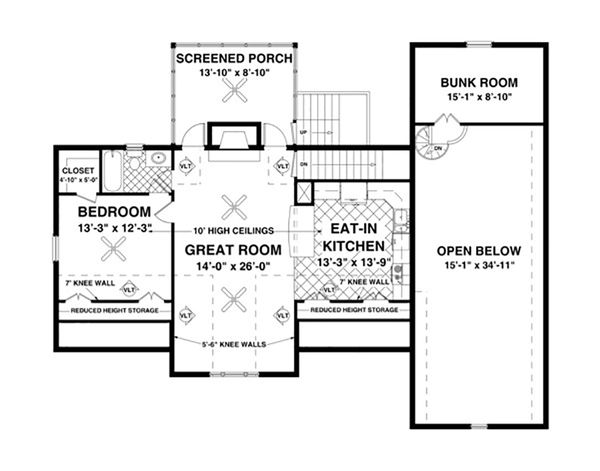 Craftsman Floor Plan - Upper Floor Plan Plan #56-626