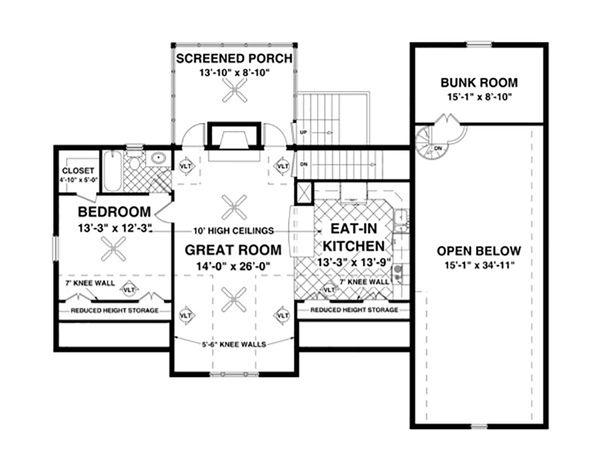 Craftsman Floor Plan - Upper Floor Plan Plan #56-626