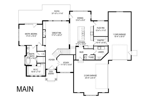 Craftsman Floor Plan - Main Floor Plan Plan #920-104