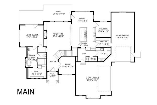 Craftsman Floor Plan - Main Floor Plan #920-104