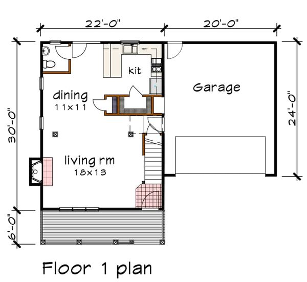 Southern Floor Plan - Main Floor Plan Plan #79-168