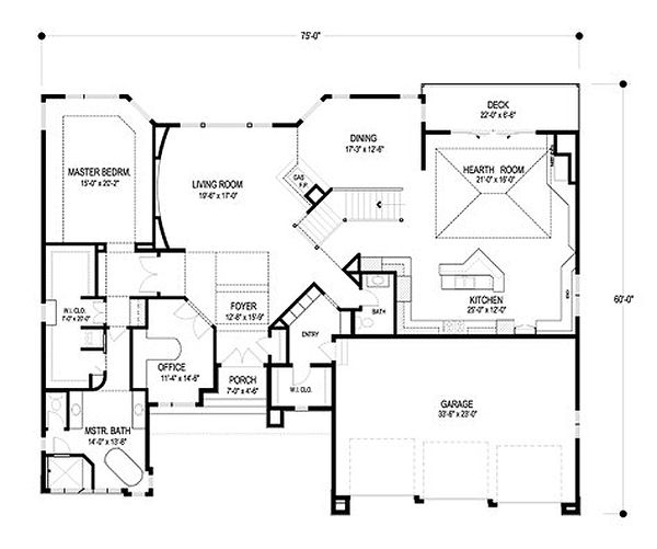 Contemporary Floor Plan - Main Floor Plan Plan #56-601