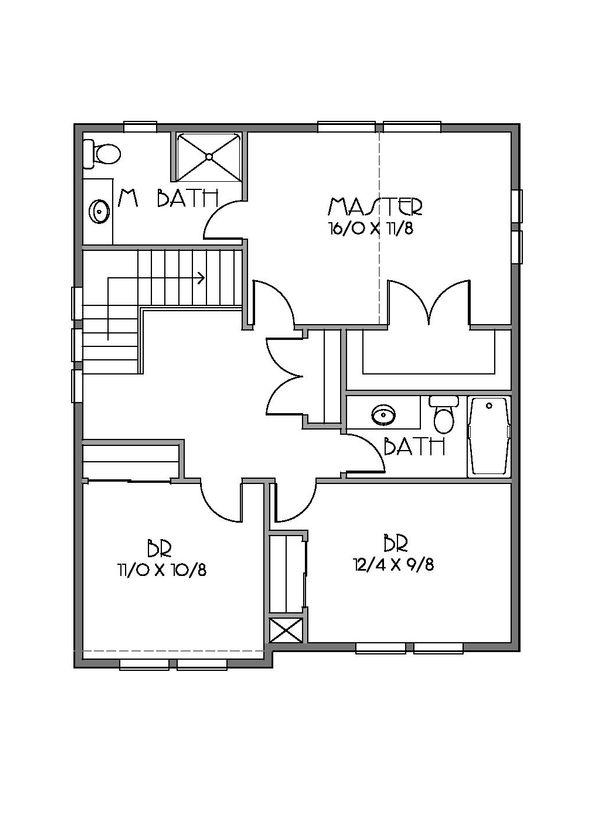 Craftsman Floor Plan - Upper Floor Plan Plan #423-59