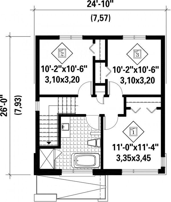 Contemporary Floor Plan - Upper Floor Plan Plan #25-4439