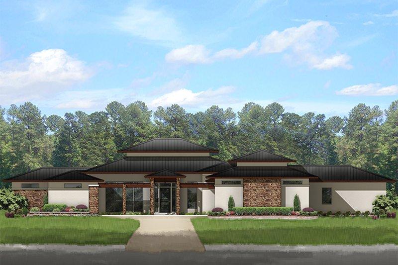 Architectural House Design - Prairie Exterior - Front Elevation Plan #1058-150