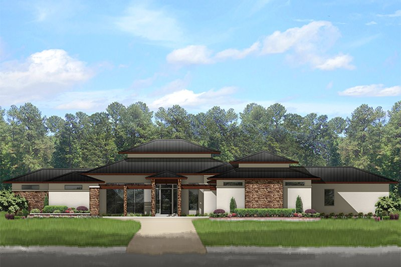 Prairie Style House Plan - 4 Beds 3.5 Baths 3541 Sq/Ft Plan #1058-150 Exterior - Front Elevation