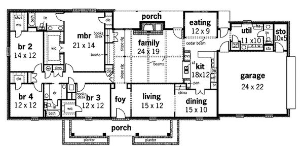 Home Plan Design - Ranch Floor Plan - Main Floor Plan #45-153