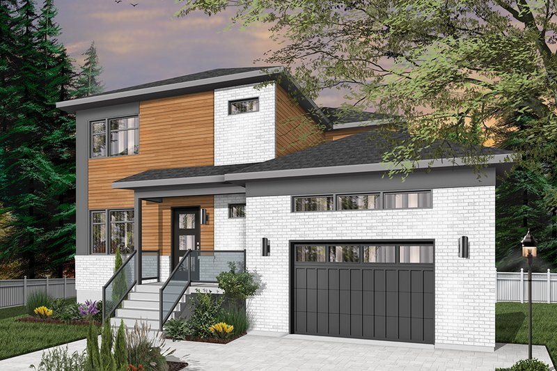 House Blueprint - Contemporary Exterior - Front Elevation Plan #23-2706