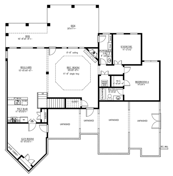 Ranch Floor Plan - Lower Floor Plan Plan #437-71