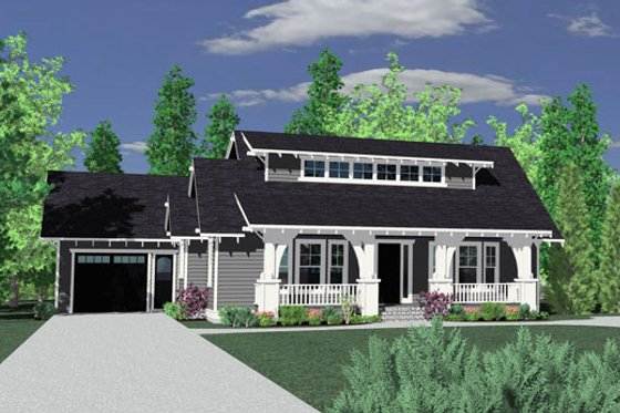 Craftsman Exterior - Front Elevation Plan #509-44