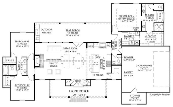 Architectural House Design - Farmhouse Floor Plan - Main Floor Plan #1074-10