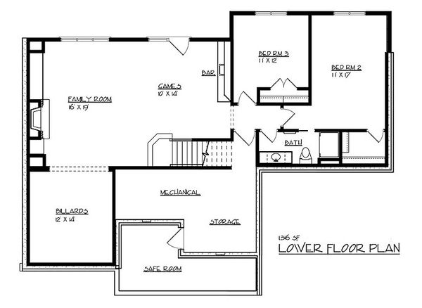 Craftsman Floor Plan - Lower Floor Plan Plan #320-489