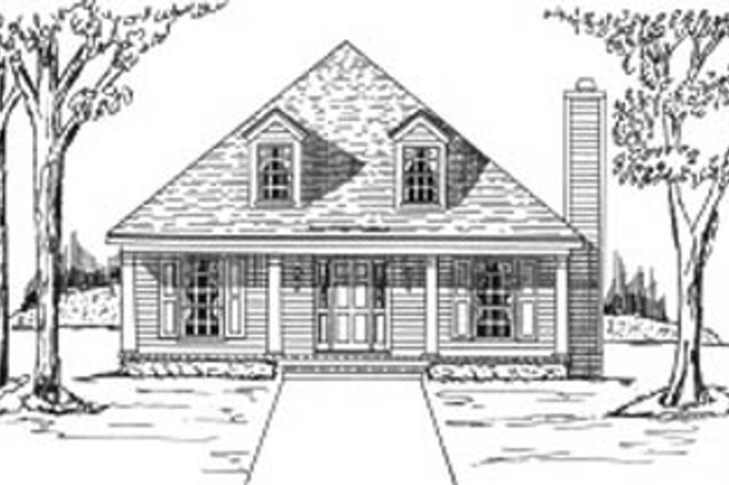 Cottage Style House Plan - 3 Beds 2 Baths 1638 Sq/Ft Plan #37-140 Exterior - Front Elevation