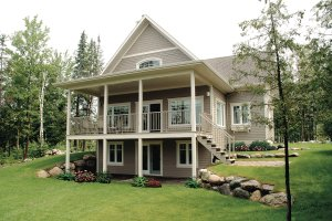 House Plan Design - Canadian country style house elevation covered porch