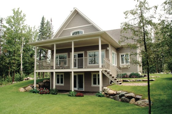 Canadian country style house elevation covered porch
