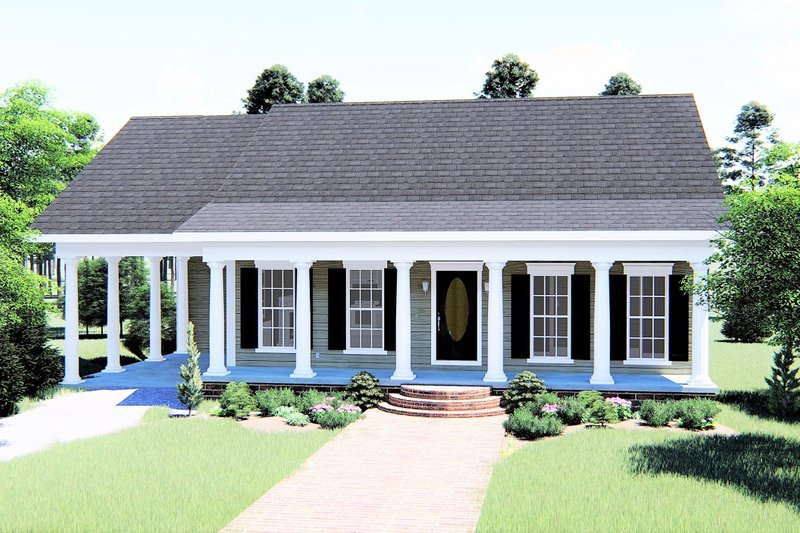 Architectural House Design - Country Exterior - Front Elevation Plan #44-159