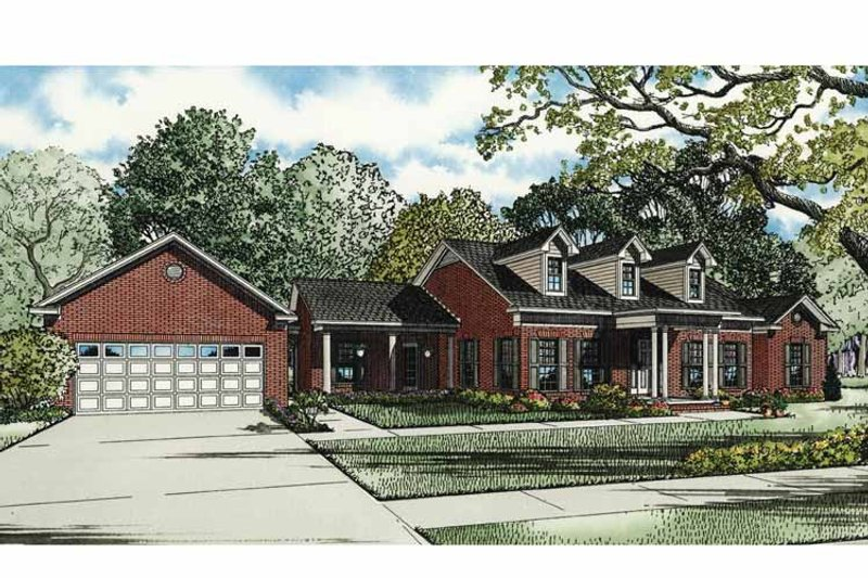 Country Exterior - Front Elevation Plan #17-3296 - Houseplans.com