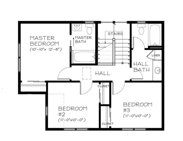 Traditional Floor Plan - Upper Floor Plan Plan #895-77