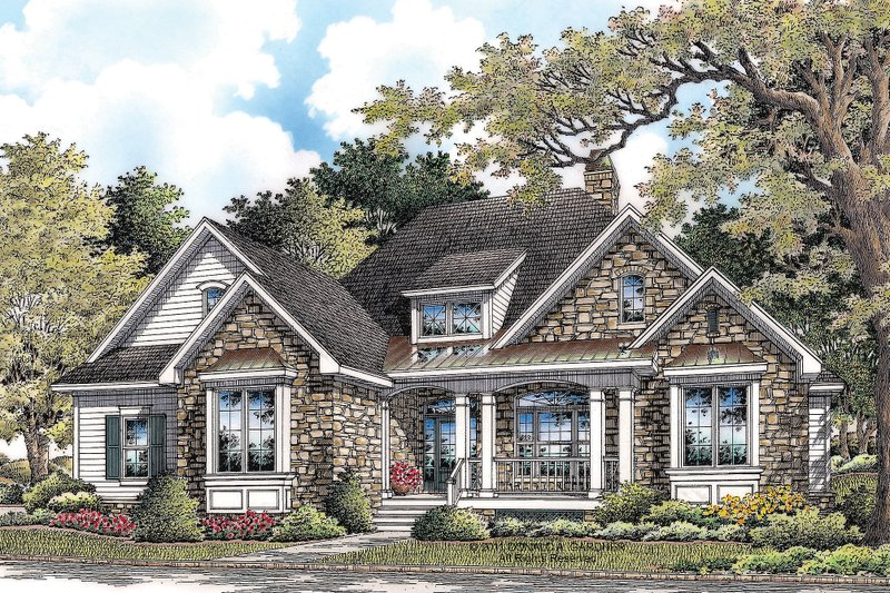 Craftsman Style House Plan - 3 Beds 2 Baths 2046 Sq/Ft Plan #929-6 Exterior - Front Elevation