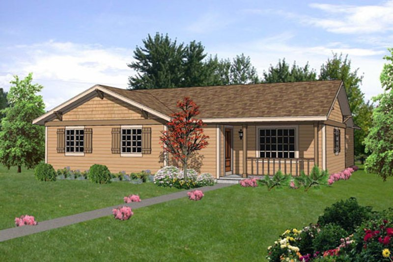 Ranch Style House Plan - 4 Beds 2 Baths 1369 Sq/Ft Plan #116-302 Exterior - Front Elevation