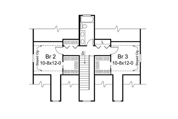 Craftsman Floor Plan - Upper Floor Plan Plan #57-668