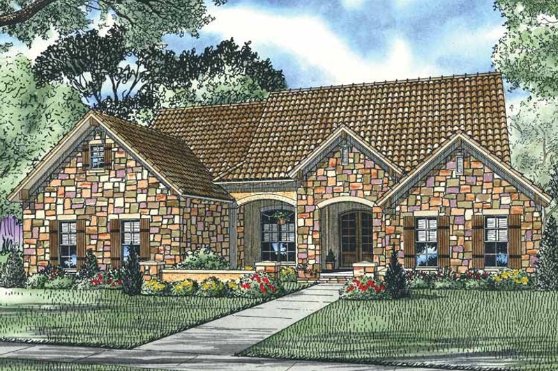 Mediterranean Exterior - Front Elevation Plan #17-2926 - Houseplans.com