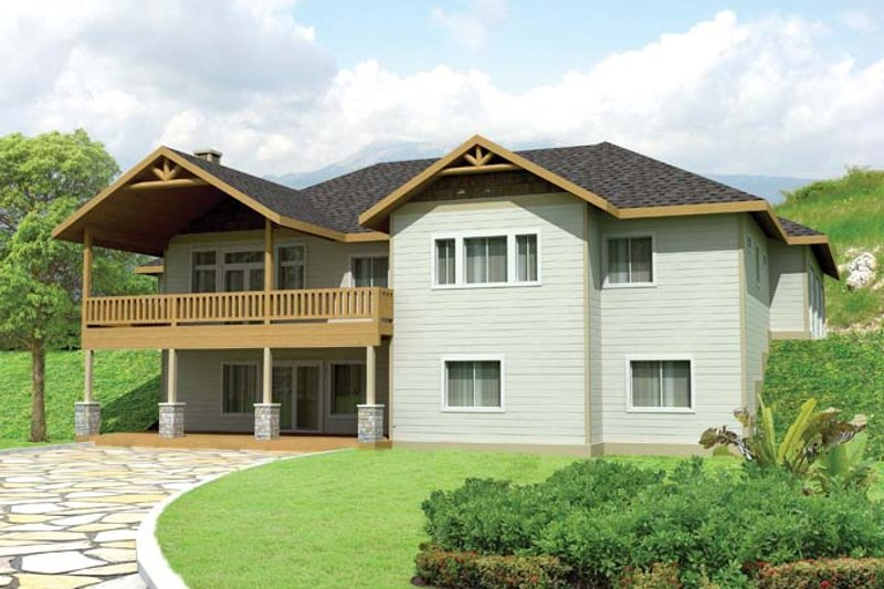 Architectural House Design - Craftsman Exterior - Rear Elevation Plan #117-858