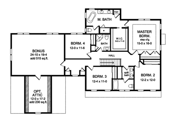 Colonial Floor Plan - Upper Floor Plan Plan #1010-204