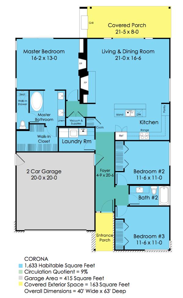 Architectural House Design - Ranch Floor Plan - Main Floor Plan #489-2