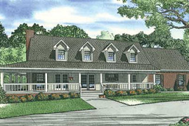 Traditional Style House Plan - 3 Beds 2.5 Baths 1860 Sq/Ft Plan #17-1163 Exterior - Front Elevation
