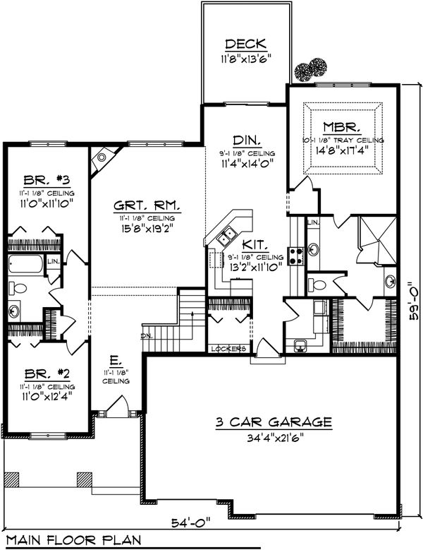 Ranch Floor Plan - Main Floor Plan Plan #70-1031